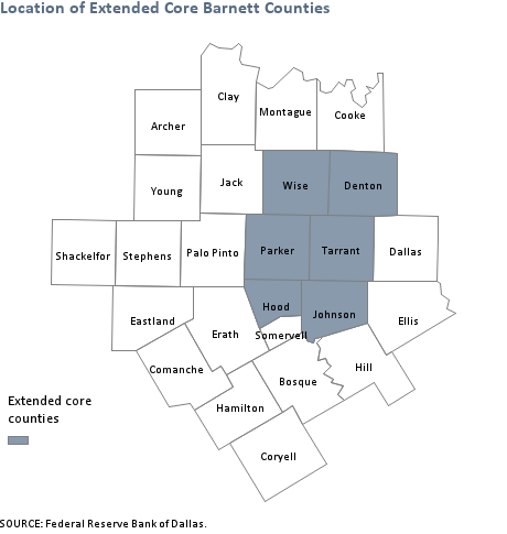 Location of extended core barnett shale counties