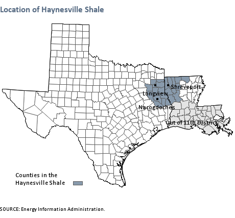 Location of the Haynesville Shale